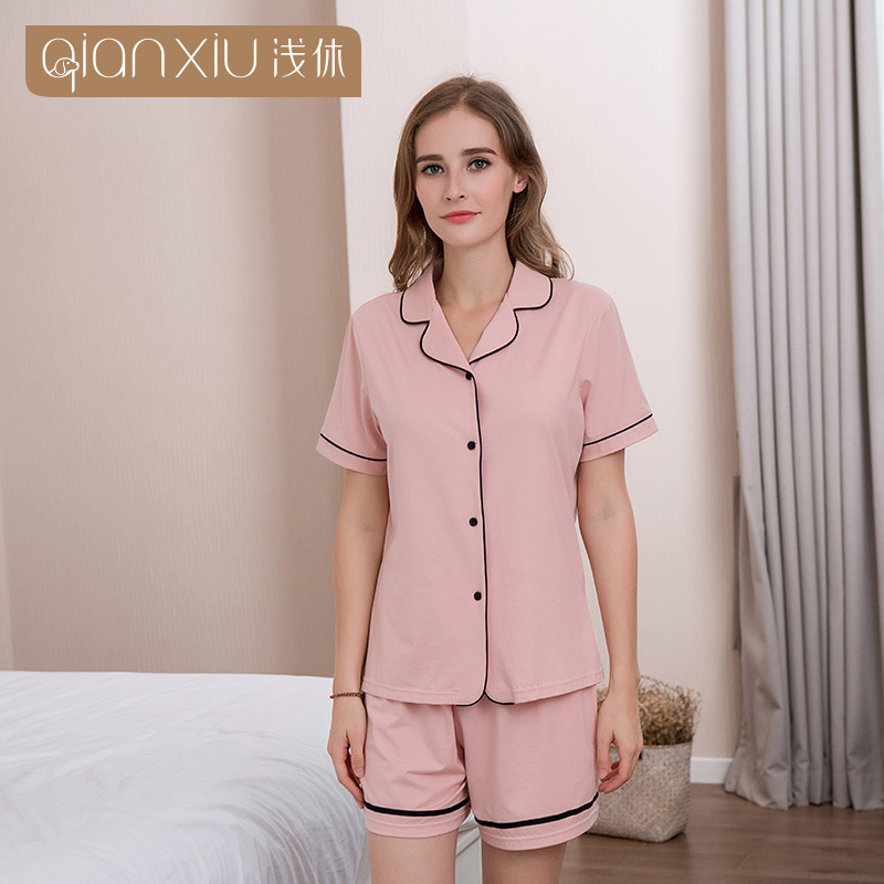 Qianxiu 18 Summer New Style Women's Couples Pajamas Suit Modal Fold-down Collar Open Front Short Sleeve Shorts Pajamas Suit