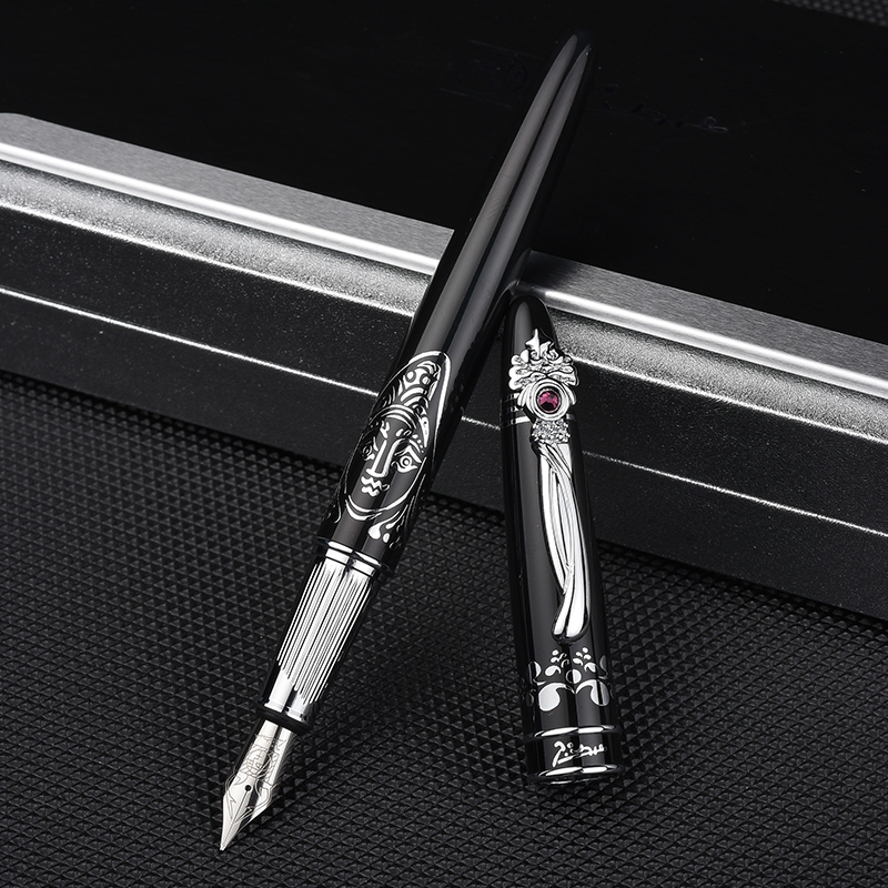 Pimio928 Pure Black Fountain Pen Unique Silver Clip with Gem High-end Business Christmas Gift 0.5mm Ink Pens with Gift Box