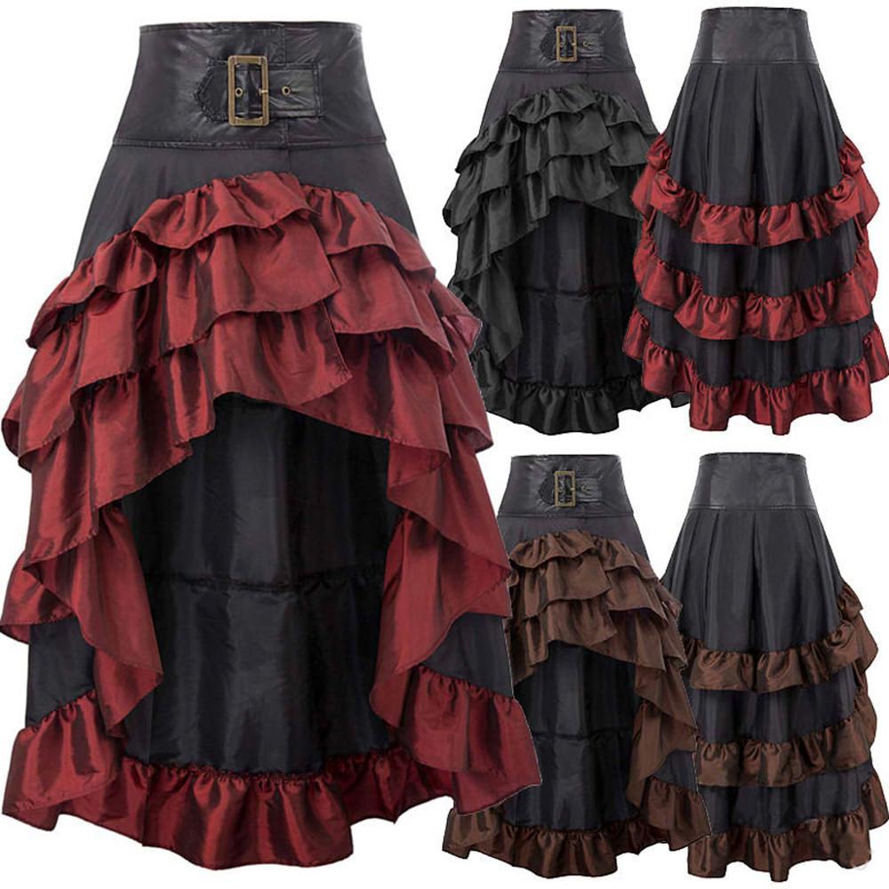 Cosplaydiy meninas feminino retro cintura alta irregular saia cosplay traje vestido de baile feito sob encomenda festa