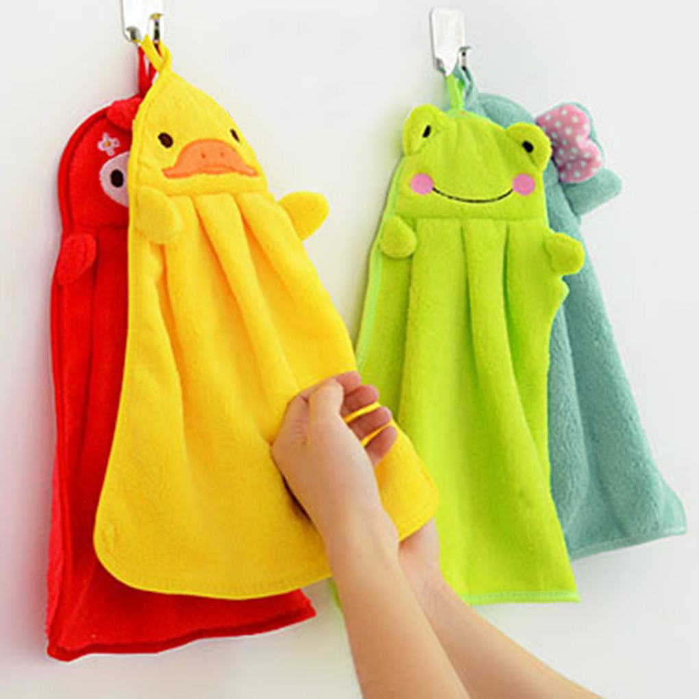 Baby Nursery Hand Towel Baby Bath Towels Toddler Soft Plush Cartoon Animal Wipe Hanging Bathing Towel For Children Towel