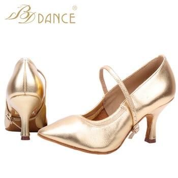 BD Dance-zapatos para mujer, baile de salón, práctica de baile, tacón medio y alto, piel de oveja, danza suave, suela 125, envío gratis