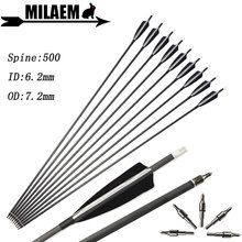 6/12/24pcs Archery Carbon Arrow Spine 500 ID6.2mm OD7.2mm 4inch Turkey Feather Compound Recurve Bow Shooting Hunting Accessories