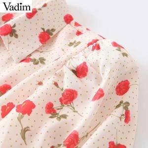 Image 4 - Vadim women sweet floral print blouse long sleeve turn down colllar shirt female causal cute fashion tops blusas LB357