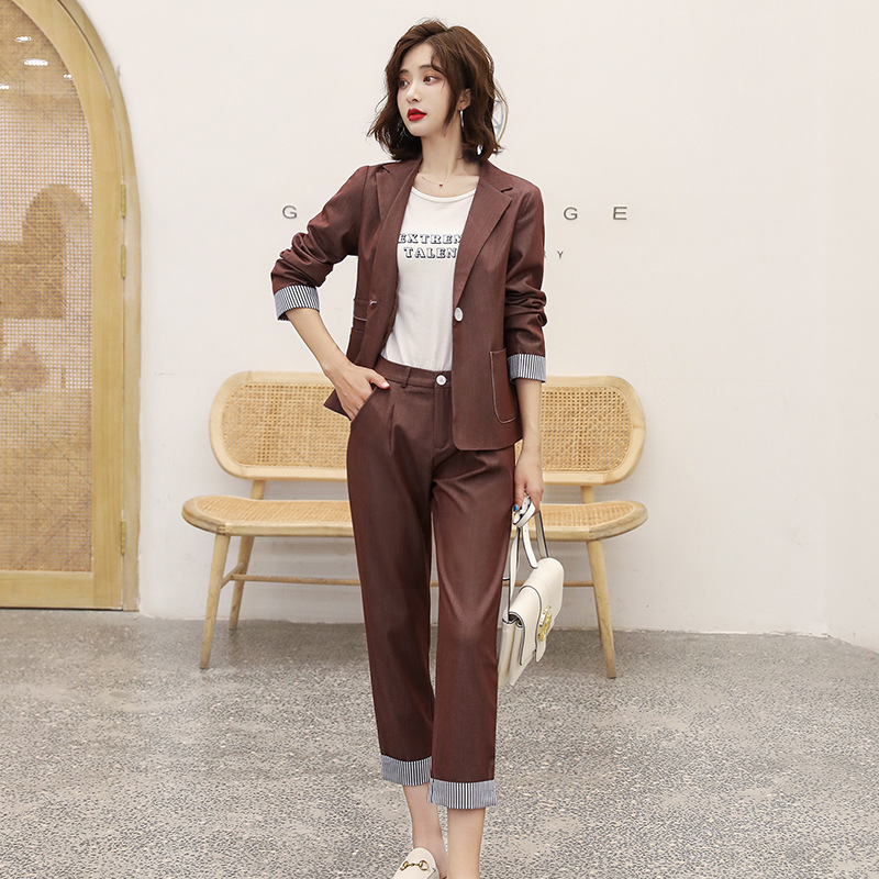 Women's suit 2019 autumn new casual fashion temperament Slim solid color single buckle small suit trousers two-piece 24