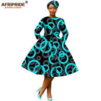 african clothing 2019 autumn women dress AFRIPRIDE full sleeve calf length ball grown women casual dress with headscraf A7225111