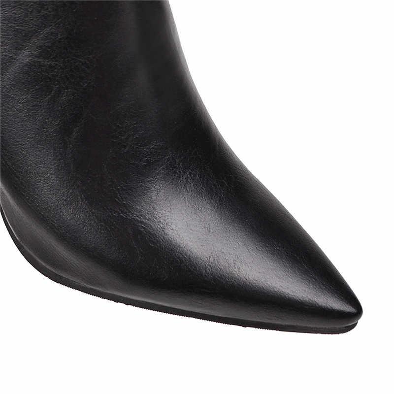ASUMER 2020 yeni yarım çizmeler kadınlar için sivri burun bayanlar balo yüksek topuklu ayakkabılar zip bayanlar sonbahar kış çizmeler artı boyutu 34-48