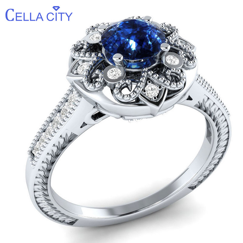 Cellacity Classic Silver 925 Ring For Women With Blue Sapphire Gemstones Silver Fine Jewelry Female Engagement Gift Size 6-10