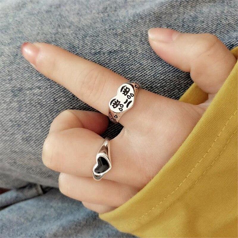 Модные Cry уход за кожей лица в форме сердца Открытое кольцо для женщин 2 шт./компл. серебро Цвет кольца на указательный палец аксессуары в стиле «хип хоп», ювелирное изделие, подарок|Кольца| | АлиЭкспресс