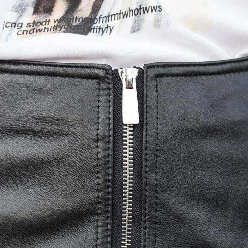 Высокая уличная шнуровка из натуральной кожи шорты для женщин в стиле панк на молнии, с завышенной талией из натуральной кожи Широкие корот... - 4