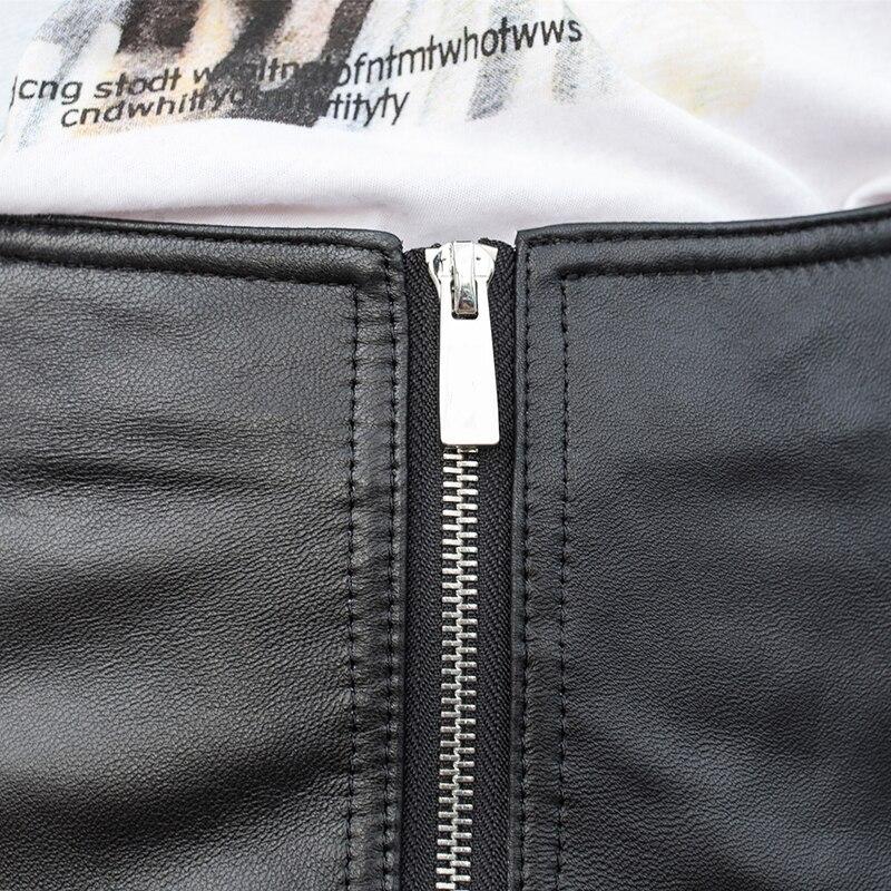 High Street Lace Up Echt Leder Shorts Frauen Punk Stil Zipper Hohe Taille Echtem Leder Breite Bein Kurze Hosen Schaffell damen - 4