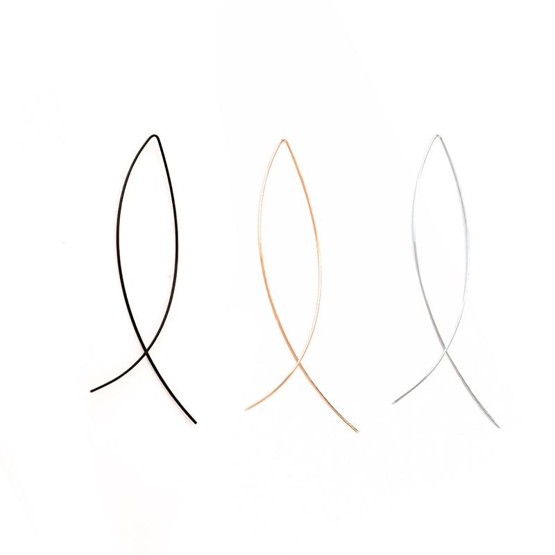 Fashion Women Girl Geometric Fish Shaped Earrings Simplicity Copper Wire Handmade Earring Brincos De Gota Feminino