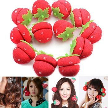 Hot New 12pcs Rollers Curlers Strawberry Balls Hair Care Girls Strawberry Balls Hair Care Soft Sponge Rollers Curlers DIY Tool 6pcs set magic sponge pillow soft roller hair best flexible foam and sponge hair curlers diy styling hair rollers tool for women