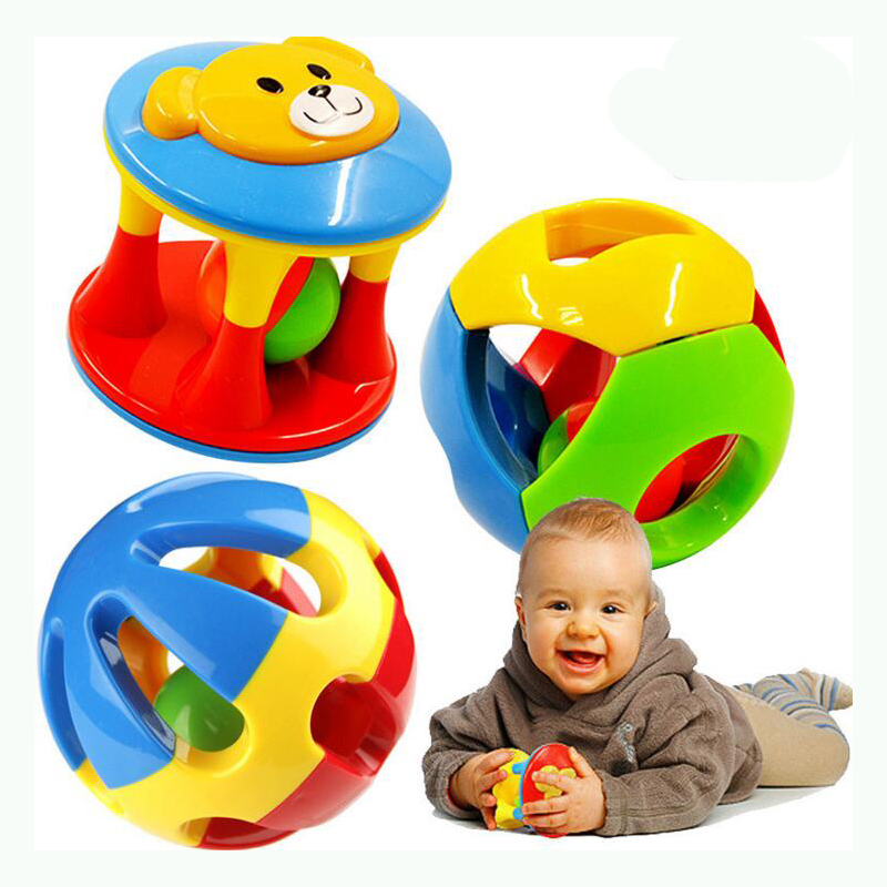 2 PCS/Set New Lovely Baby  Educational Plastic Ring Shake Bell Toys Rattles  Hand
