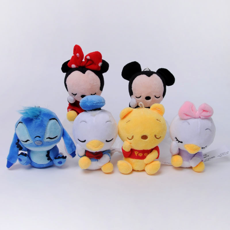 Disney Winnie The Pooh Mickey Mouse Minnie Soft Stuffed Animals Plush Doll Toy Keychain Lilo And Stitch Piglet Toy Kid Girl Gift