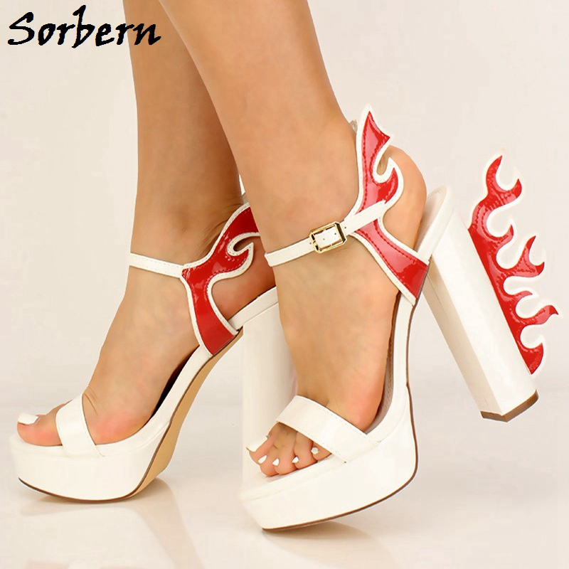 Sorbern Flame Block Heel Sandals Women Ankle Straps Platform Heels Chunky Heeled Size 10 Womens Shoes White Red Mixed Color