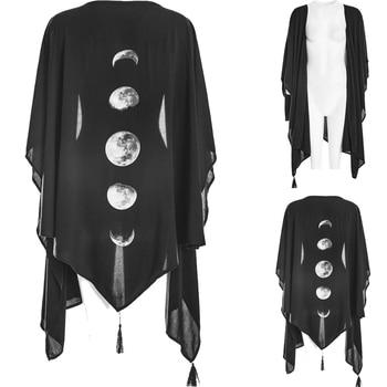Imily Bela Gothic Asymmetrical Cardigan Cape Coat Women Tassel Chiffon Cloak Black Poncho Pancho Femme Moon Printed Shawl
