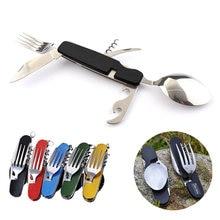 Portátil de campamento, pícnic cuchara doble tenedor cubertería tenedor vajilla cuchillo cubiertos abrelatas de botella multiherramienta multi herramienta utensilio