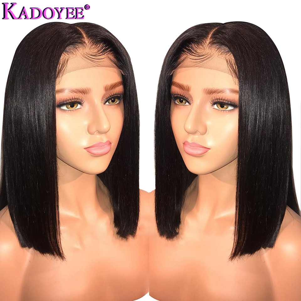 Brazilian Wig Short Bob Straight Lace Front Human Hair Wigs Middle Part Pre Plucked Bleached Knots Remy Hair Wig For Women