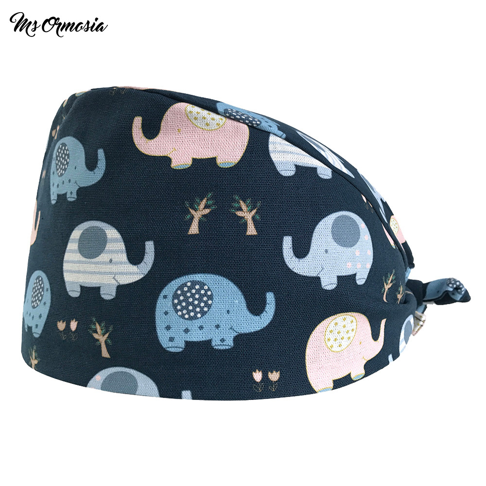 High Quality Red Printed Men And Women 100% Cotton Surgical Cap Pet Hospital Dentist Nurse Cap Surgical Cap Elastic Band Hat New