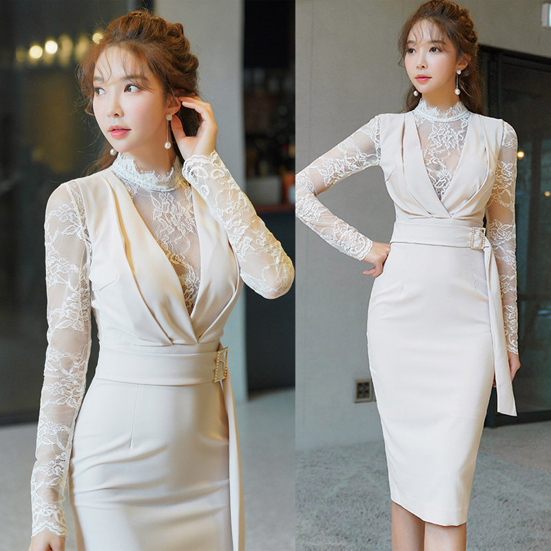 Lace Mock Two-Piece WOMEN'S Dress 2019 Big Brand New Products Elegant Slimming Slim Fit Mid-length Ol Career Sheath Dress