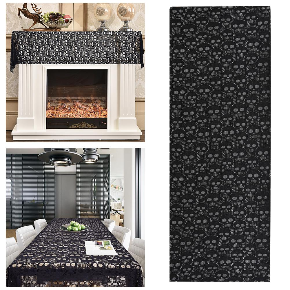 Halloween Black Lace Tablecloth Ghost Patterns Table Cover Rectangular Skull Tablecloth For Kitchen Dinner Festival Family Party