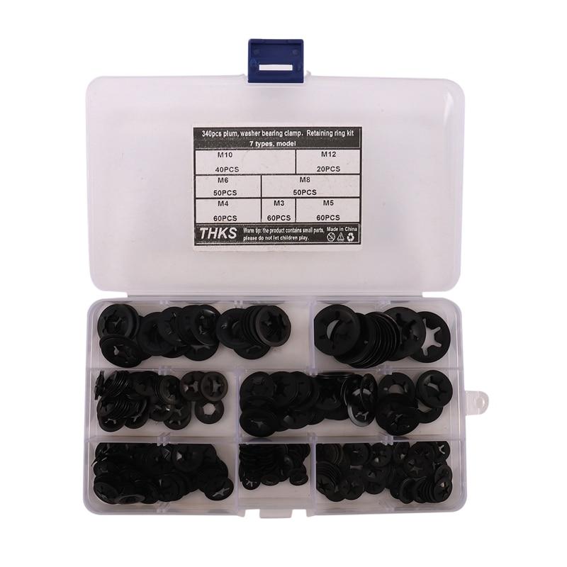 340Pcs Internal Tooth Starlock Washers Lock Washers Assortment Kit, Push On Speed Clips Fasteners Assortment Kit (7 Size)