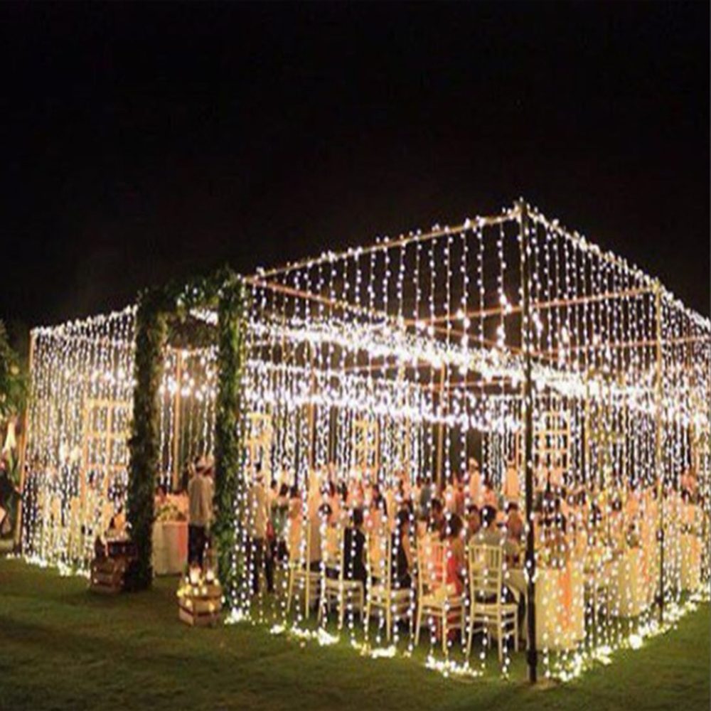 Image 5 - 10mx3M LED Wedding Party patio Decor fairy Light christmas garland dimmable LED Curtain outdoor string Light for home new year-in LED String from Lights & Lighting on