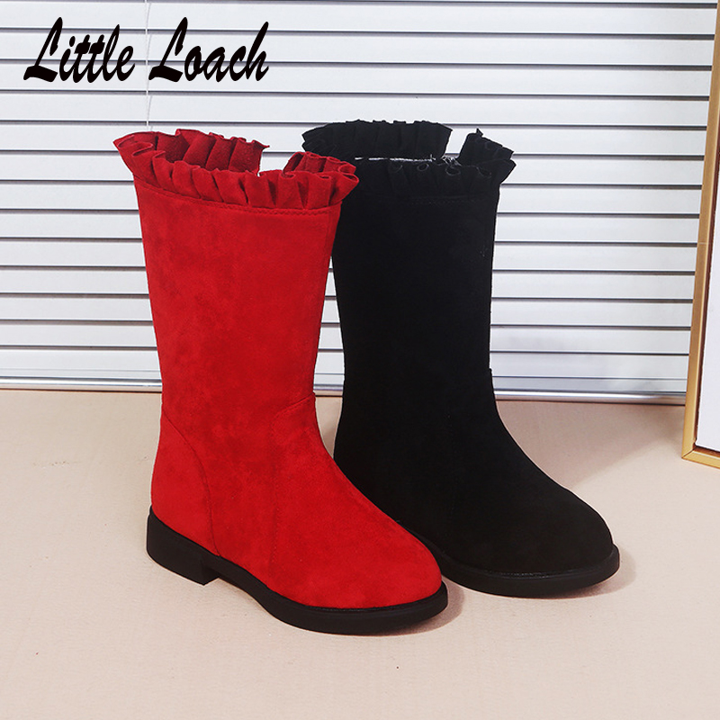 New Arrival Girls Nubuck Leather Boots Mid-calf Princess Vintage Boots For Children Soft Footwear Slip-resistant Botas Size26-37