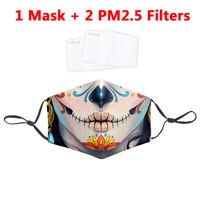 Joker Printed Mouth Mask PM2.5 Filter Reusable Fabric Face Mask Anti Dust Washable Masks Protection Bacteria Proof Flu Mask