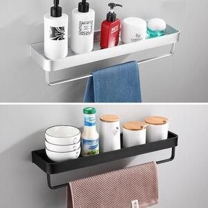 Image 2 - Prateleira para banheiro, prateleira para banheiro, preta com toalha de banho, prateleira de alumínio para banheiro, suporte de shampoo, rack de canto