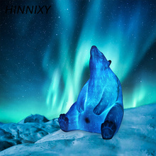 Hinnixy Newest 3D Print Night Light Polar Bear Castle Whale Racket Shape Rechargeable Table Lamp Bedroom Decor Creative Gifts