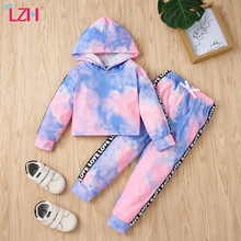 LZH 2021 Spring Hooded Long Sleeve Top+Trousers 2Pcs Sets Tie Dye Children Clothing Baby