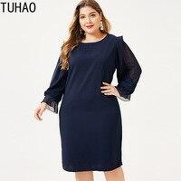 TUHAO 2019 Fall Woman Elegant Office Lady Dresses 6XL 5XL 4XL Large Size Women's Autumn Long Sleeve Dress Work Plus Size WM57
