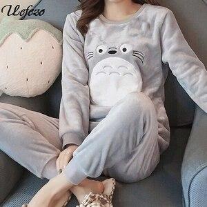 Uefezo Cartoon Pyjamas Women Cute Sleepwear Pijamas Autumn Winter Flannel Fleece Warm Pajama Set Home Wear For Women Nightwear