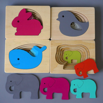 цена Kids Wooden Toys For Children Animal Carton 3D Puzzle Multilayer Jigsaw Puzzles Baby Toys Child Early Educational Aids Gifts онлайн в 2017 году