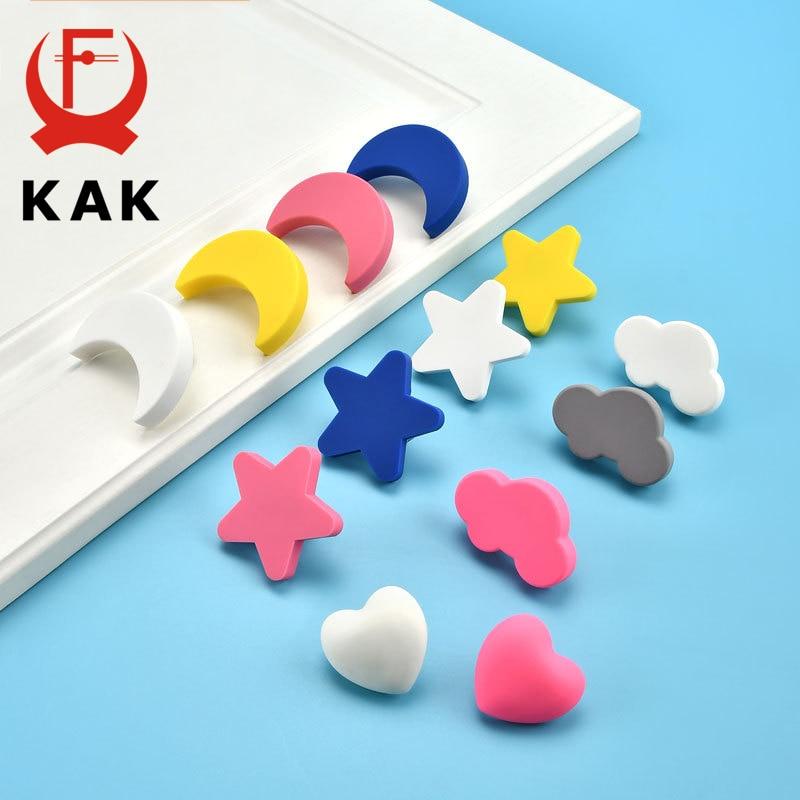 KAK Cartoon Kids Room Cabinet Knobs And Handles Moon Star Furniture Handles PVC Cloud Drawer Knobs Cabinet Pulls For Kids