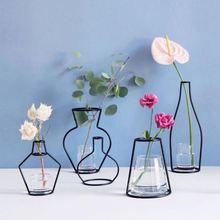 Скандинавские Цветочные украшения для дома вечерние украшения Ваза абстрактные черные линии минималистическая абстрактная железная ваза сушеные Цветочные стеллажи для вазы