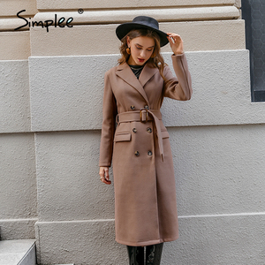 Image 5 - Simplee צמר תערובת חורף טוויד מעיל נשים ארוך שרוול אלגנטי אבנט חגורה נשי סתיו חורף streetwear מעיל