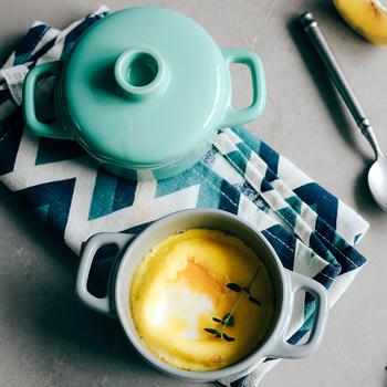 Taza de cerámica impermeable para estofado de doble oreja, taza para sopa de Nido de Pájaro, taza de huevo al vapor, tazón de cocina para estofado de porcelana