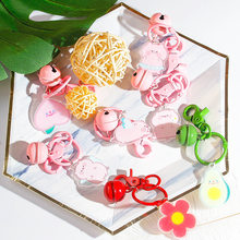 2020 Lovely PVC Pink Pig Keychain For Women Girl Jewelry Animal Doll Bell Cute Car Key Holder Keyring Best Friend Gift Wholesale(China)