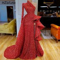 Sexy Sequined Prom Dresses Red One Shoulder Ruffles Side Split Evening Dress Long Sleeves Peplum Dubai Arabic Party Vestidos