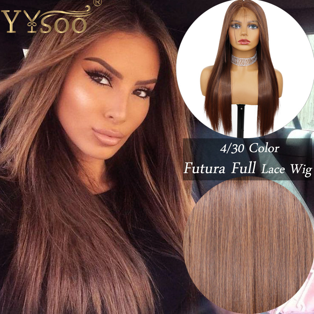 YYsoo Long #4/30 Mixed Color Japan Futura Synthetic Full Lace Wig Pre Plucked Part Anyway Silky Straight High Ponytail Ombre Wig