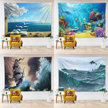 Ocean Tapestry Nature Dorm Decor Wall Hanging Shark Seagull Sailing Printing Polyester Wall Cloth Tapestries Home Decoration недорого