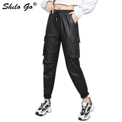 Genuine Leather Pants Safari Style Drawstring Waist Pocket Side Sheepskin Harem Pants Women Autumn Winter Casual Solid Trousers