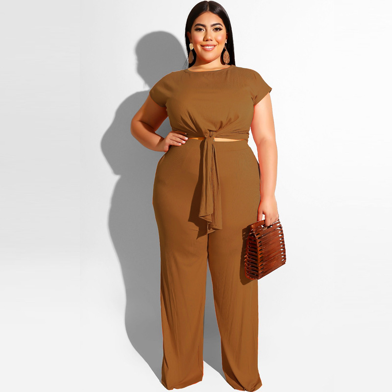 Plus Size Casual Women Set Short Sleeve Belt Crop Top And Straight Long Pants 2 Piece Set Ribbed <font><b>Sexy</b></font> Suits Workout <font><b>Outfits</b></font> <font><b>2019</b></font> image