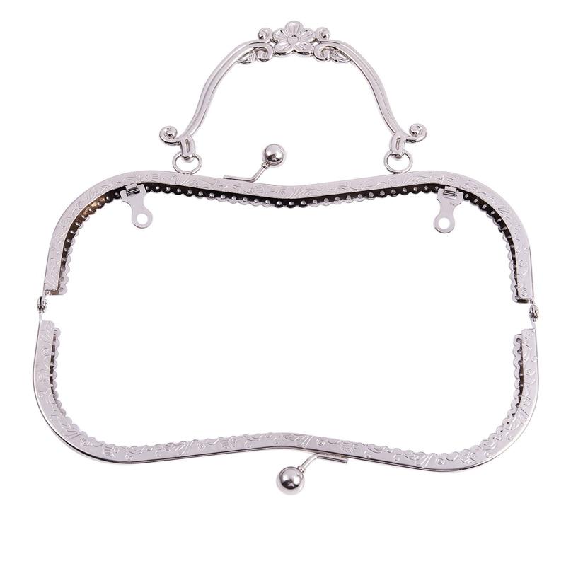 1PC Metal Purse Bag Frame Kiss Clasp Lock Silver Tone Size:21x9cm