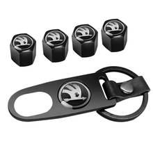 Car Styling Metal Wheel Tire Valve Stem Air Caps for Skoda Fabia 1 2 Octavia a7 RS Superb Rapid Yeti Karoq Vision Accessories