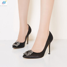 Black Satin Cloth Rhinestones High Heels Shoes Woman Pumps Basic 2021 Diamond Heels Work Shoes Fashion Party Sexy Women Shoes