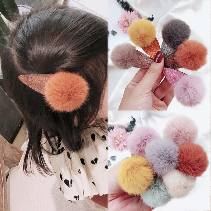 Soft Faux Fur Pom Pom Hair Clip Ball BB Clip Hairpins Kids Cute Hair Accessories