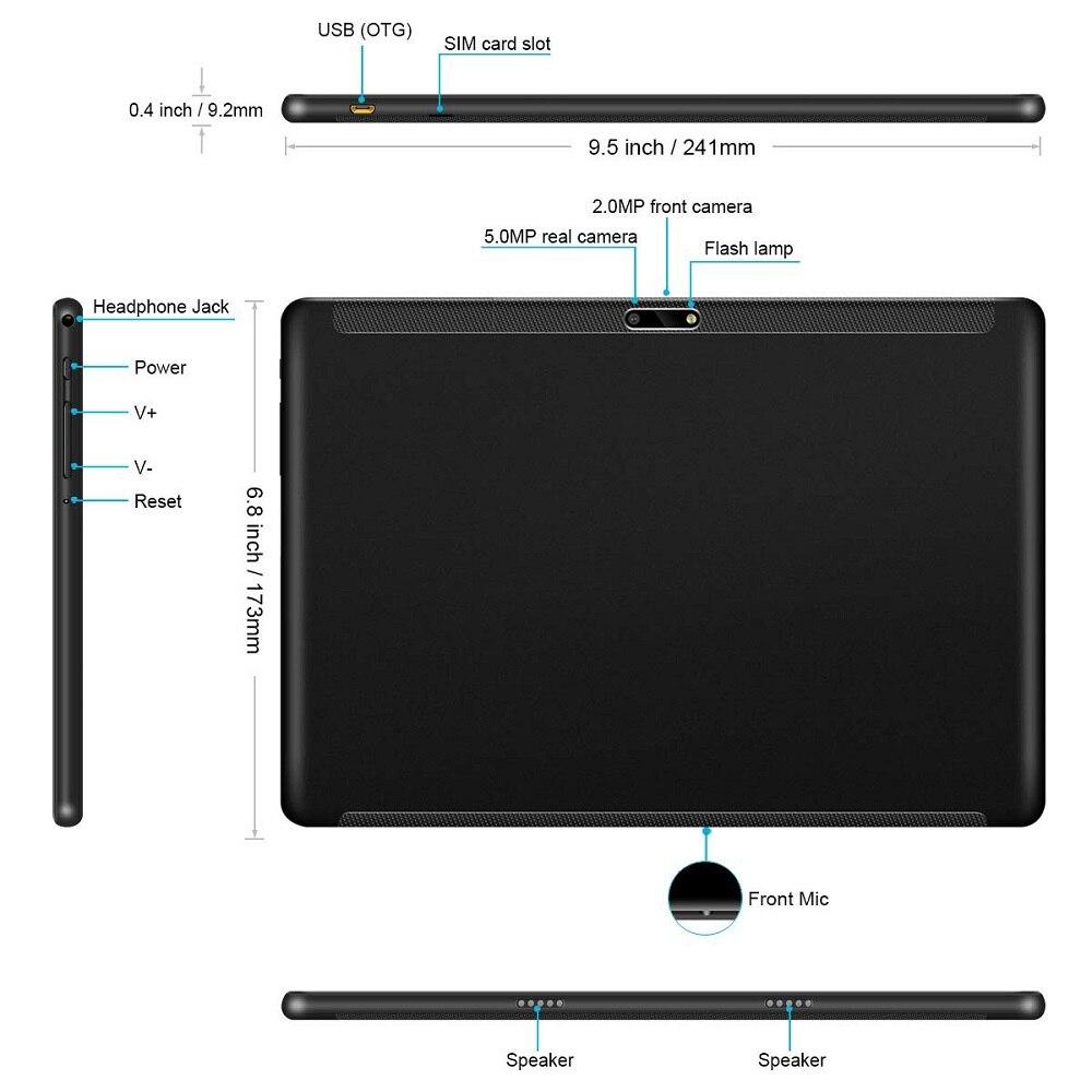 2020 novo design 10 polegada tablets android 9.0 os 6 gb + 128 gb rom câmera dupla 8mp sim tablet pc wifi gps 4g lte almofada do telefone móvel - 4